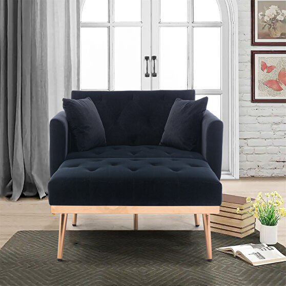 Black velvet chaise lounge chair /accent chair