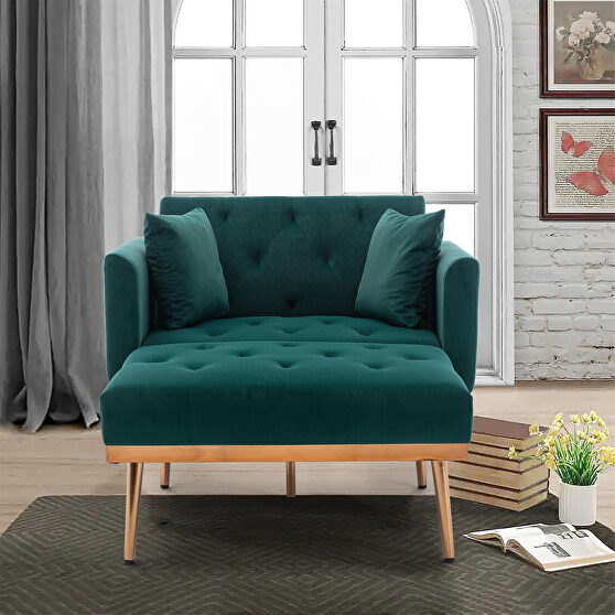 Green velvet chaise lounge chair /accent chair