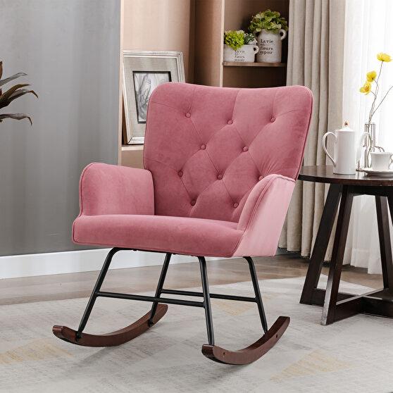 Mid-century modern pink velvet comfortable rocking chair