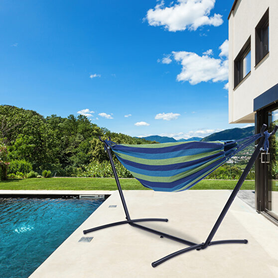 Blue/green striped double classic hammock with stand for 2 person- indoor or outdoor