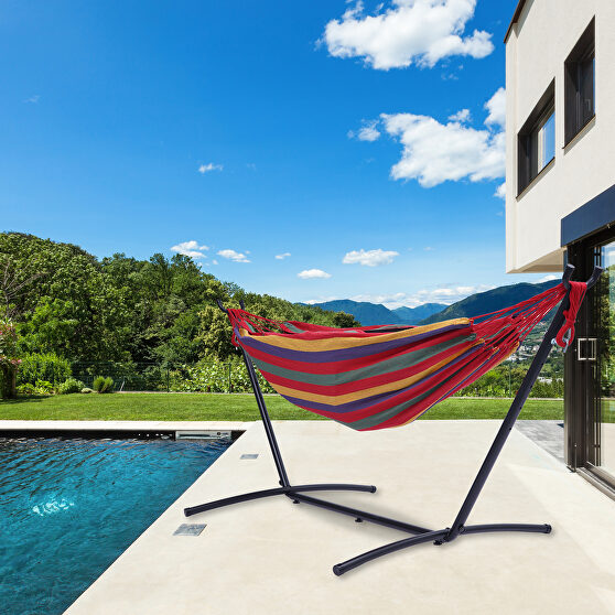 Red striped double classic hammock with stand for 2 person- indoor or outdoor