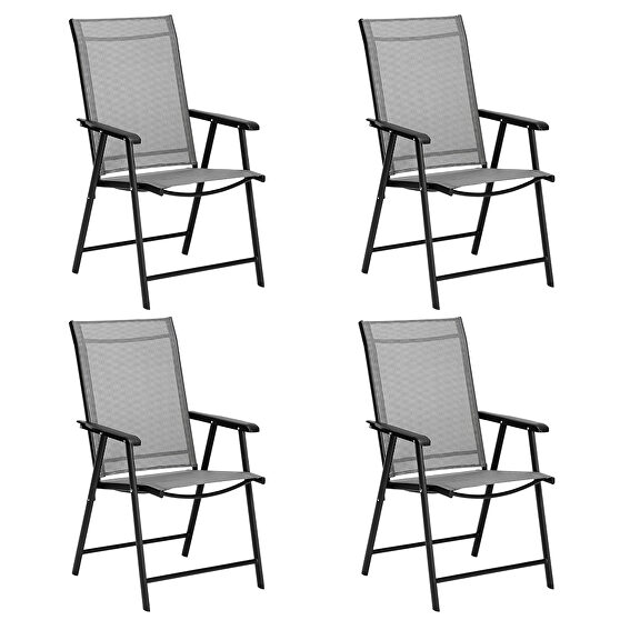 4-pack patio folding chairs portable for outdoor camping, beach