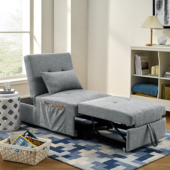 4 in 1 function ottoman, chair ,sofa bed and chaise lounge in gray finish