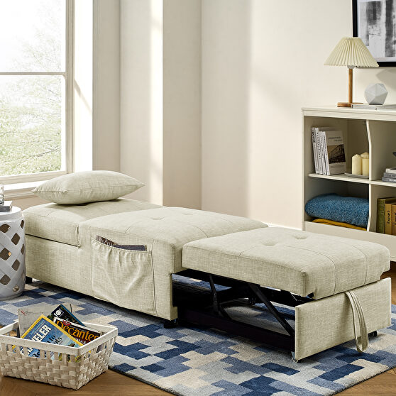 4 in 1 function ottoman, chair ,sofa bed and chaise lounge in beige finish