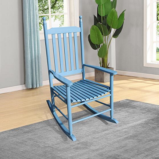 Wooden porch rocker chair blue