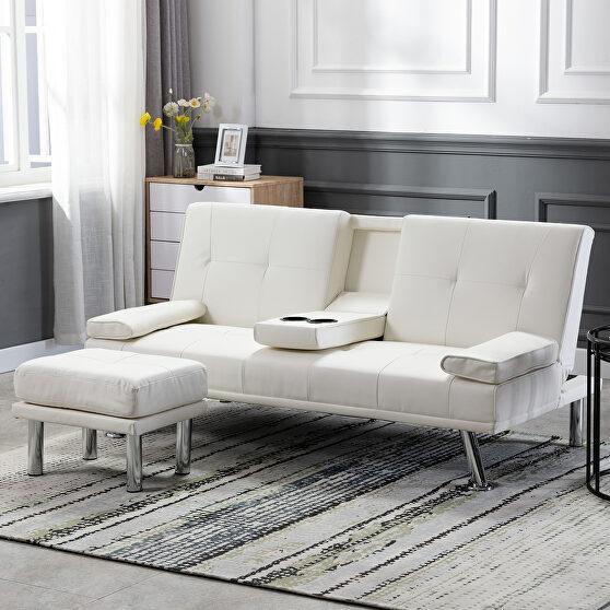 Sofa bed white air leather modern convertible folding futon