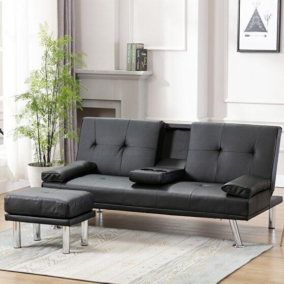 Sofa bed black air leather modern convertible folding futon