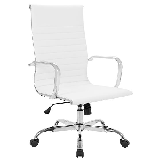 High back office chair home desk chair pu leather white