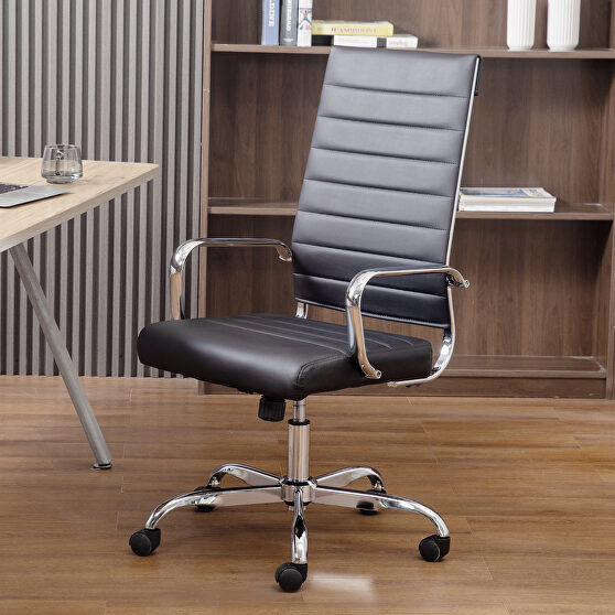 High back office chair home desk chair pu leather black