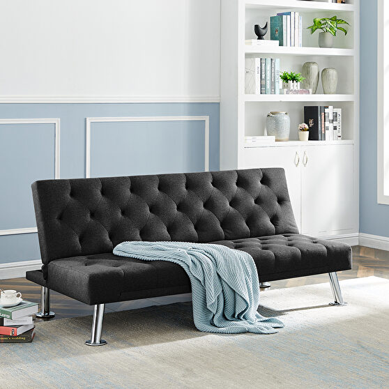 Black fabric upholstered folding sleeper sofa