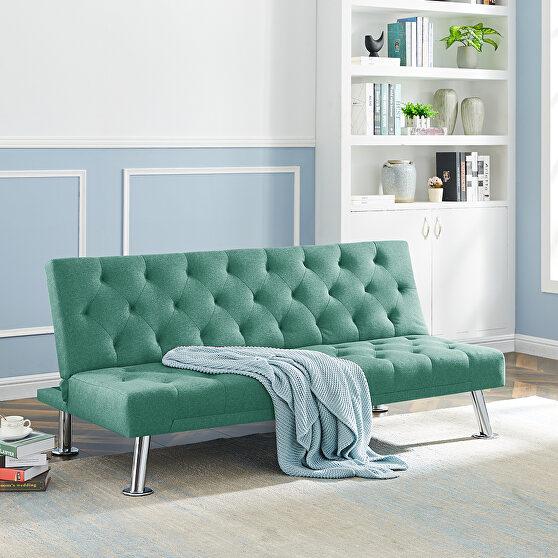 Green fabric upholstered folding sleeper sofa