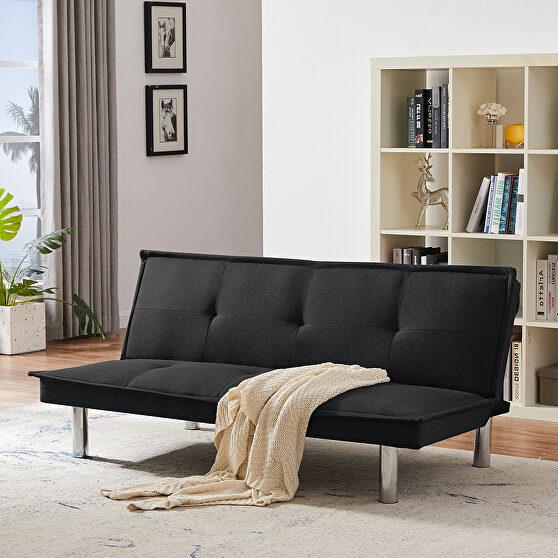 Black fabric sofa bed, convertible folding futon sofa bed sleeper