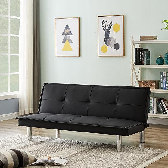 Black pu leather convertible folding futon sofa bed