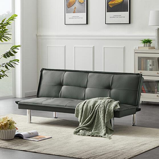 Gray pu leather convertible folding futon sofa bed