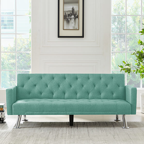 Convertible folding sofa bed, green fabric sleeper sofa