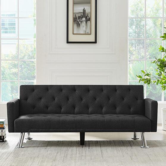 Convertible folding sofa bed, black fabric sleeper sofa