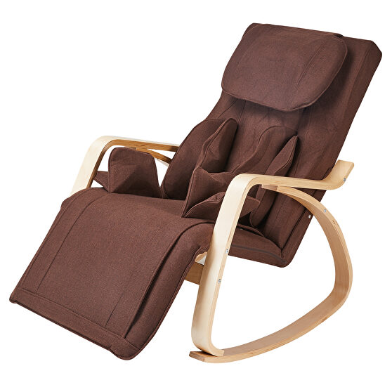 Brown cotton fabric cushion comfortable relax rocking chair