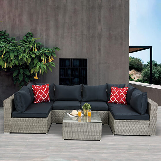 7-piece pe rattan wicker sectional cushioned sofa sets with 2 pillows and coffee table