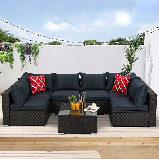 7-piece pe rattan wicker sectional cushioned sofa sets and coffee table