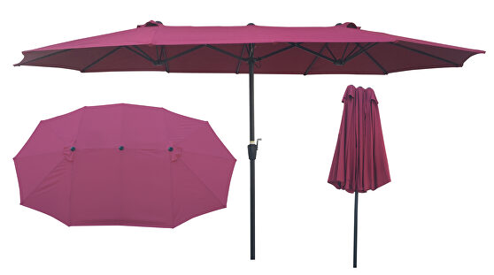 Double-sided patio umbrella outdoor market table garden extra large waterproof twin umbrellas with crank and wind vents