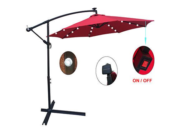 Red 10 ft outdoor patio umbrella solar powered led lighted sun shade market waterproof 8 ribs umbrella