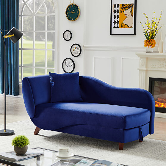 Artemax blue chaise lounge with storage and solid wood legs