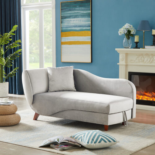 Artemax chaise lounge with storage and solid wood legs