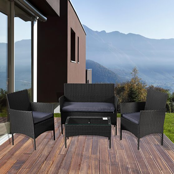 Outdoor garden sets patio furniture 4-piece black pe rattan wicker gray cushioned sofa conversation sets with coffee table