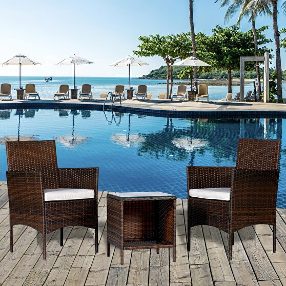 Bistro wicker set outdoor rattan 3 pieces set modern table pe brown rattan and beige cushion