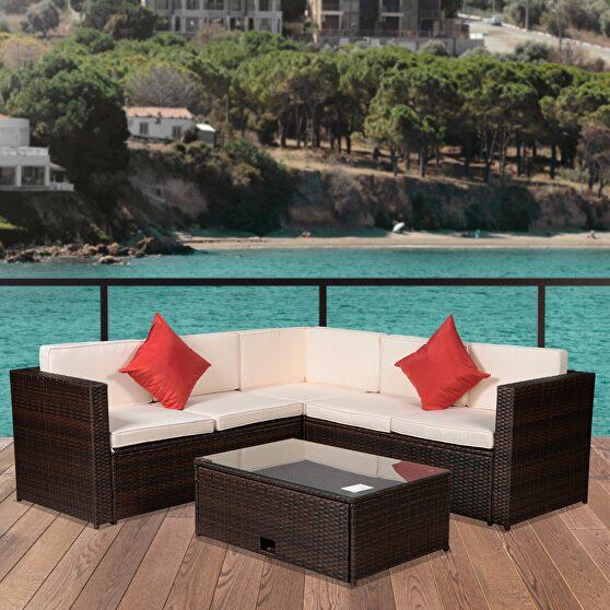 Brown/ beige outdoor garden patio furniture 4-piece set