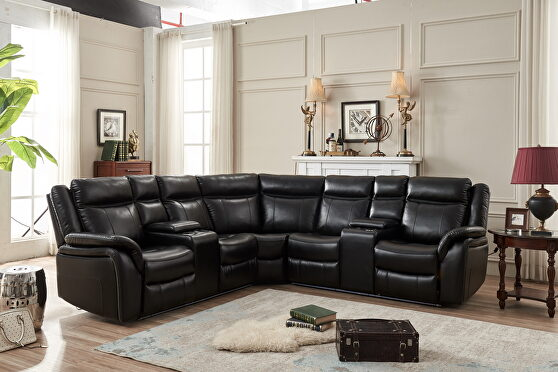 Black technical leather power reclining sectional w/led strip