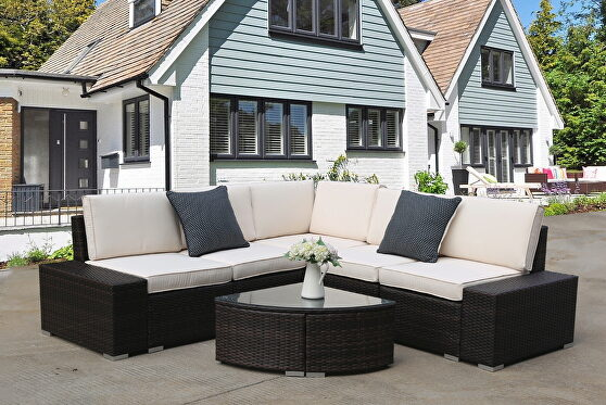 6 pieces pe rattan furniture sectional conversation set brown rattan with beige cushion