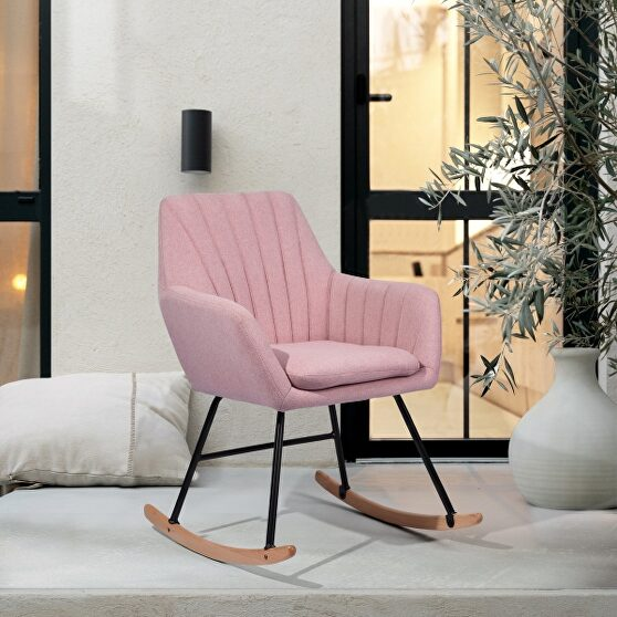 Pink fabric rocking chair