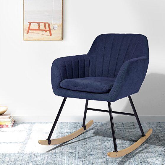 Blue fabric rocking chair