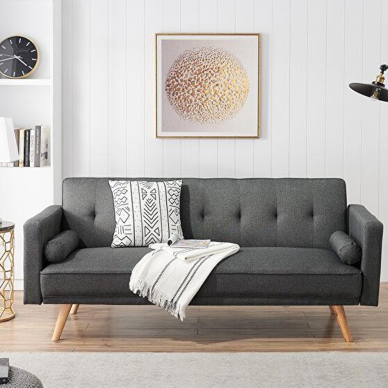 Dark gray fabric upholstery folding sofa