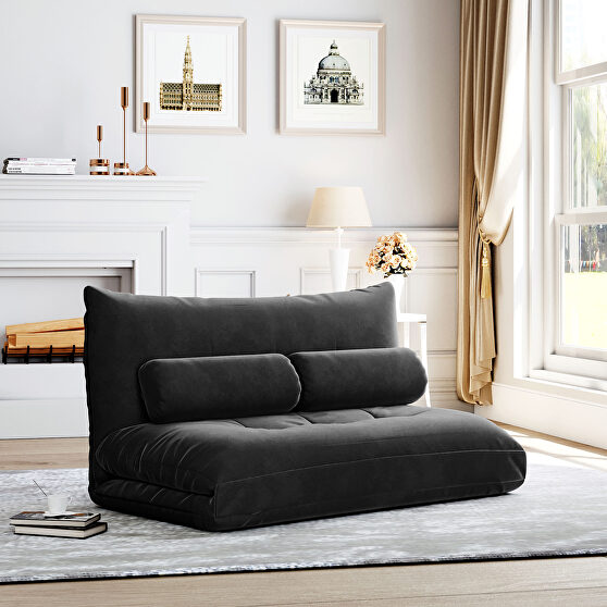 Black fabric adjustable folding futon lounge sofa