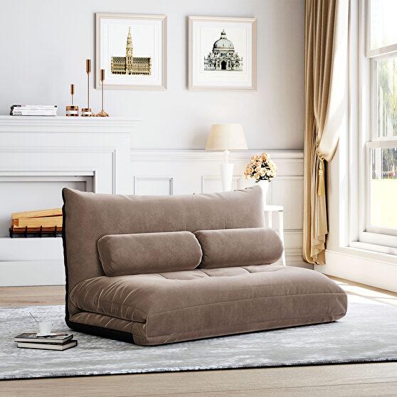 Light brown fabric adjustable folding futon lounge sofa