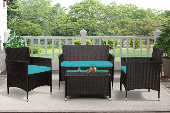 Ustyle 4 piece rattan sofa seating group with blue cushions