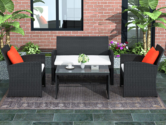 All-weather rattan 4 pieces outdoor patio black set