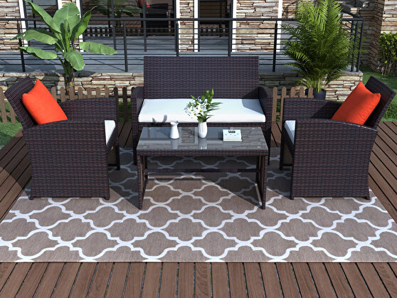 All-weather rattan 4 pieces outdoor patio brown set