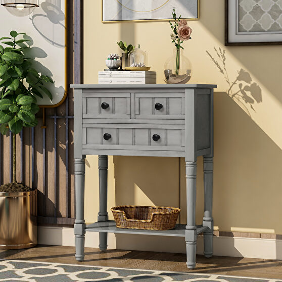 Gray wash narrow console table, slim sofa table with three storage drawers
