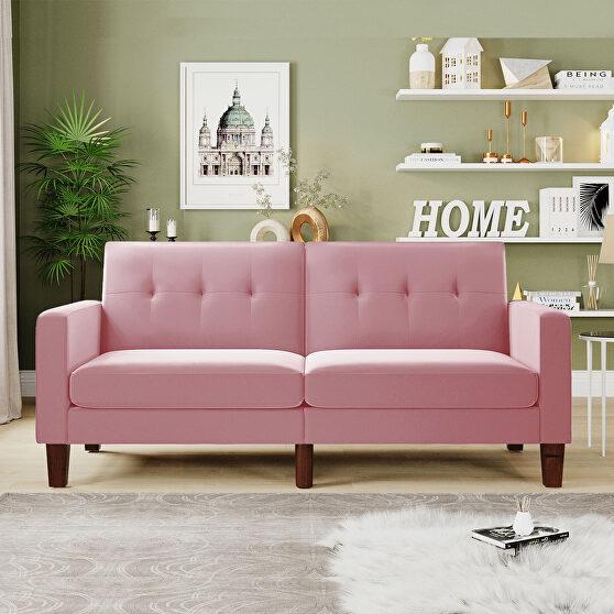 Sofa bed pink velvet fabric upholstery living room sofa