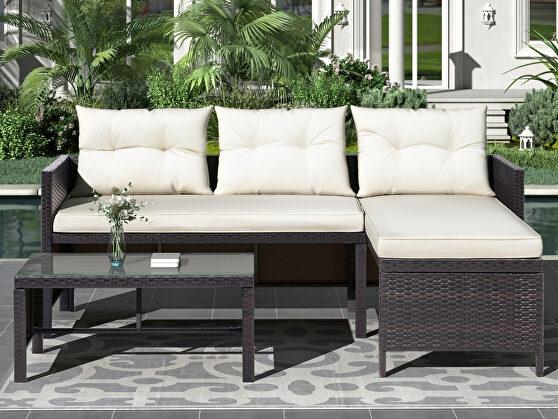 U-style 3 pcs outdoor rattan furniture sofa set with cushions
