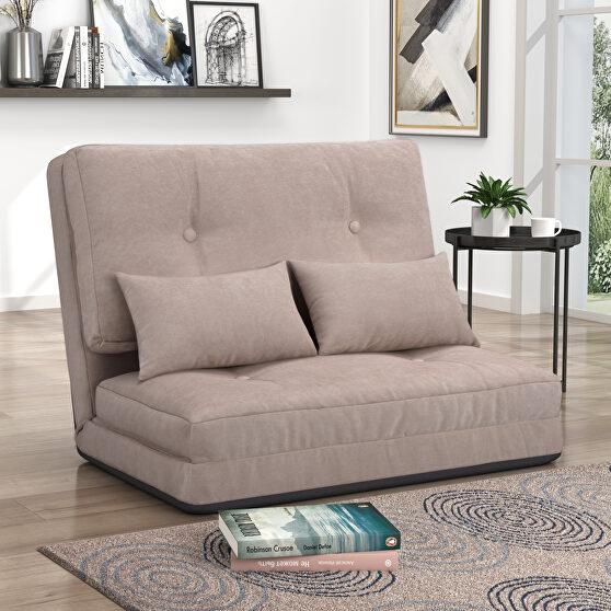Beige suede sofa bed adjustable folding futon sofa
