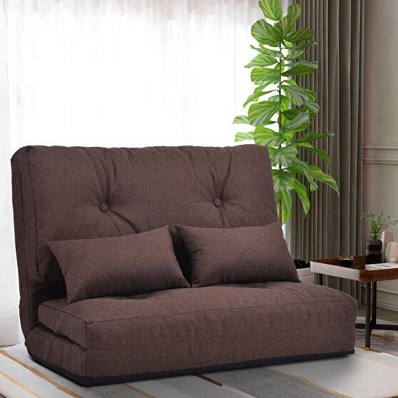 Brown linen sofa bed adjustable folding futon sofa