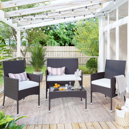 Brown garden rattan patio furniture 4 piece set