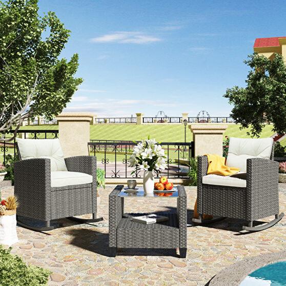 Ustyle 3 piece rocking patio furniture set, gray wicker rattan