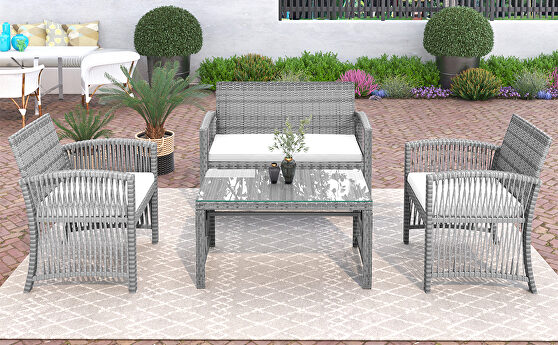 Gray rattan chair, sofa and table patio 4 piece set