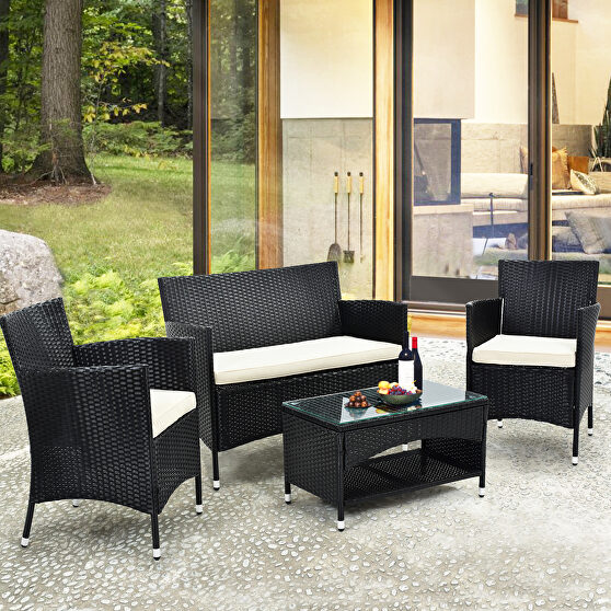 4 pcs patio furniture outdoor garden conversation wicker sofa set
