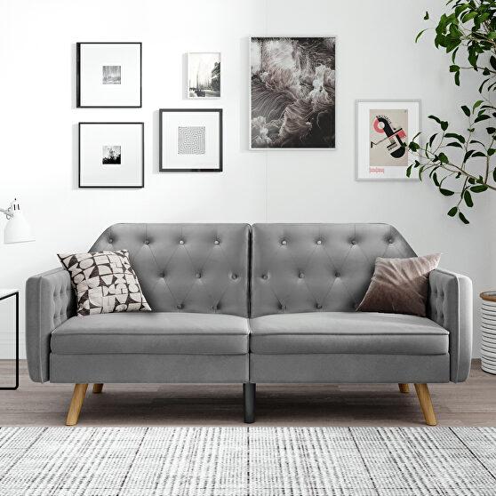 Gray velvet upholstered modern convertible folding futon lounge
